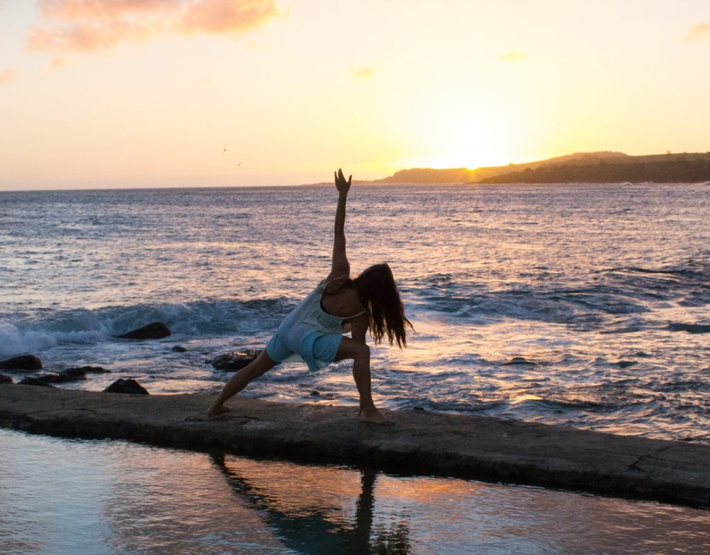 Sunset yoga peace